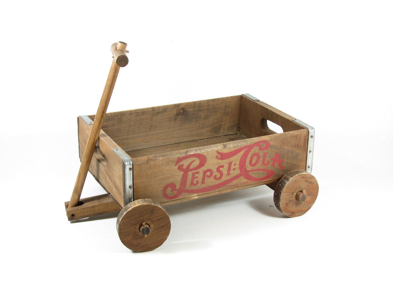 Vintage Wood Crate Cart Wooden Wagon Pepsi Cola by BridgewoodPlace