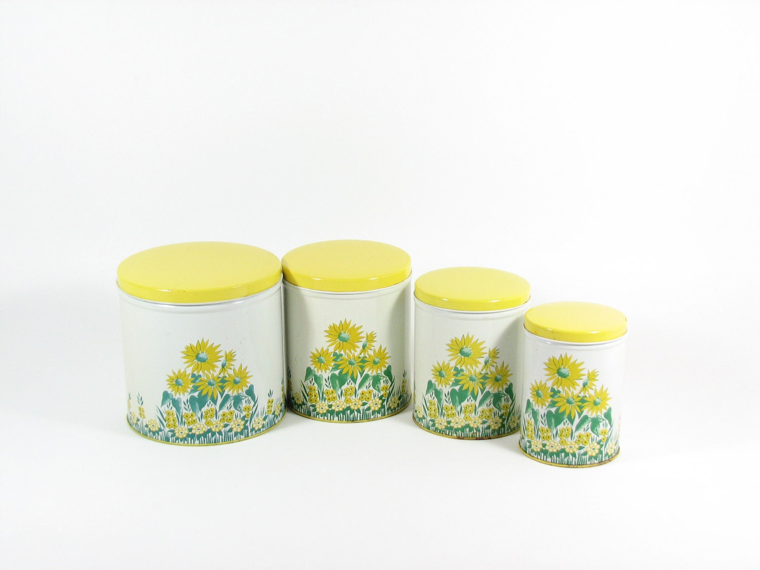 Vintage canister set yellow sunflowers kitchen tins set of 4 for Kitchen set yellow