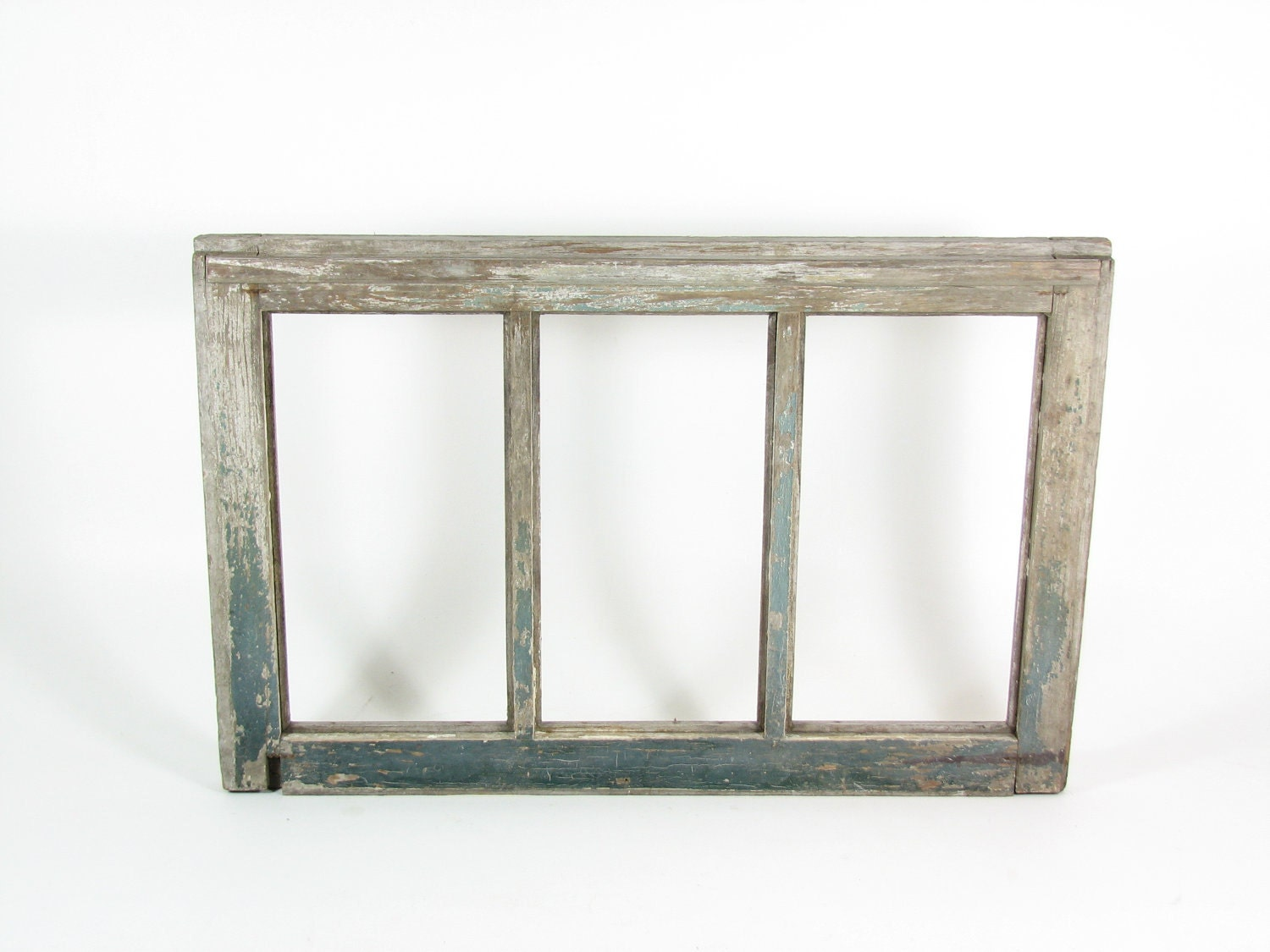 vintage wood window frame 3 pane without glass weathered wood