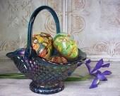 Vintage Carnival Glass Easter Basket with German Paper Eggs