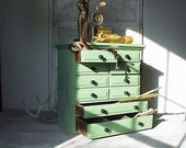 Vintage Mint Green Supply Cabinet Chest of Drawers