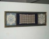 Vintage 1930s Framed Sewing Crochet Doily Assemblage