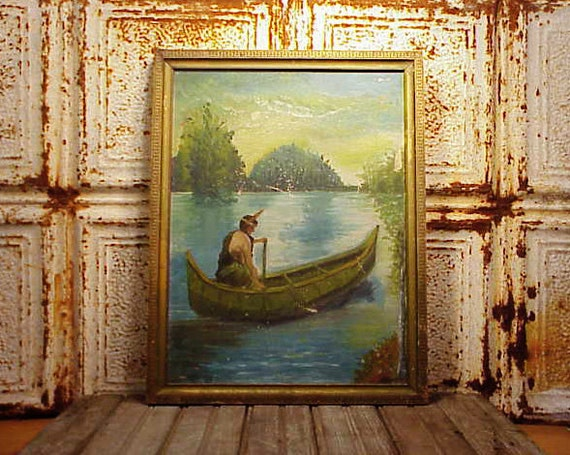 Antique Oil Painting Indian Maiden Hiawatha In Canoe By