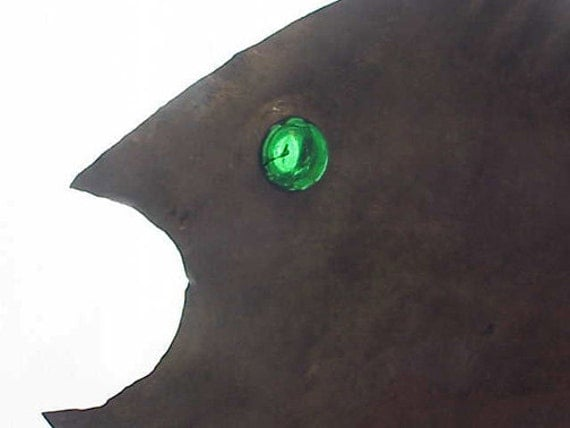 Scrap Metal Fish Glass Eye Folk Art