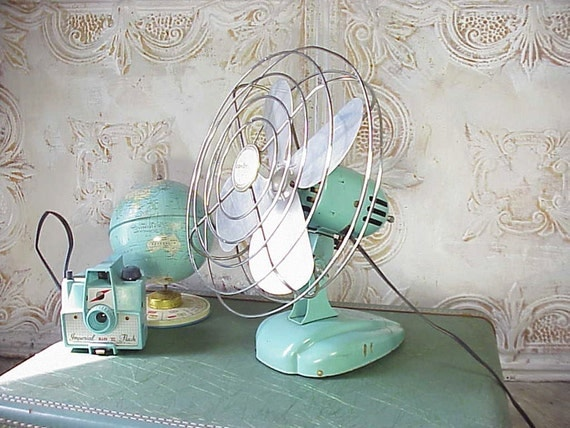 Vintage Small Turquoise Eskimo Electric Fan