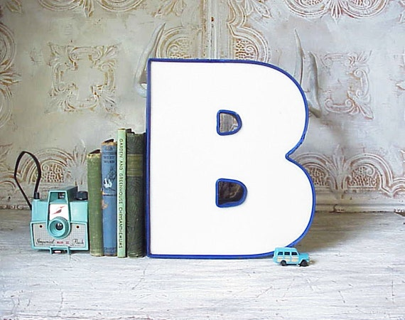 Salvaged Vintage Sign Chunky White and Blue Letter B