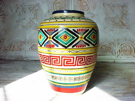 Vintage Mexican Hand Painted Multi Colored Vase