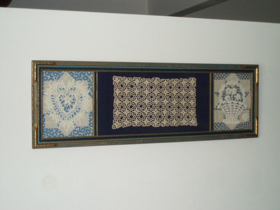 Vintage 1930s Framed Sewing Crochet Doily Assemblage