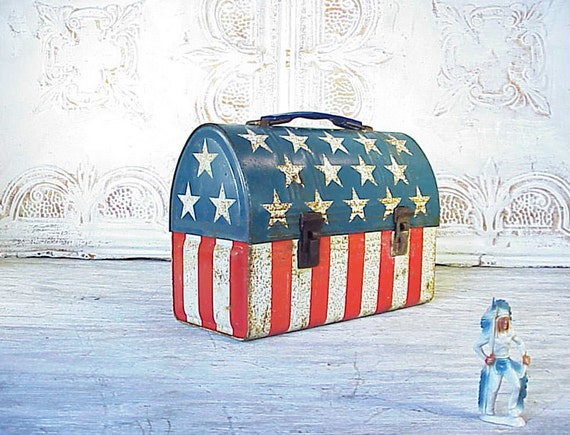 Reserved for Ella Vintage Easy Rider American Flag Stars and Stripes Dome Lunchbox