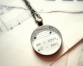 Back to School Sale  CLEARANCE Secret Sheet music necklace.  Pendant necklace with real vintage sheet music under glass