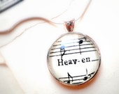 Sheet music necklace.  Silver pendant with real vintage sheet music under glass dome.  Gift for musician. Heaven