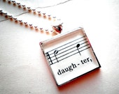Daughter.  Necklace with sheet music glass pendant on Silver ball chain  Gift mother daughter gift