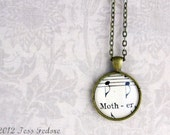 Mother's day jewelry.  Necklace with vintage sheet music under glass on bronze chain.  One of a kind gift for music loving mom
