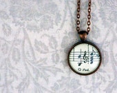 Sheet music necklace.  Copper pendant with real vintage sheet music under glass dome.  Gift for music lover or musician