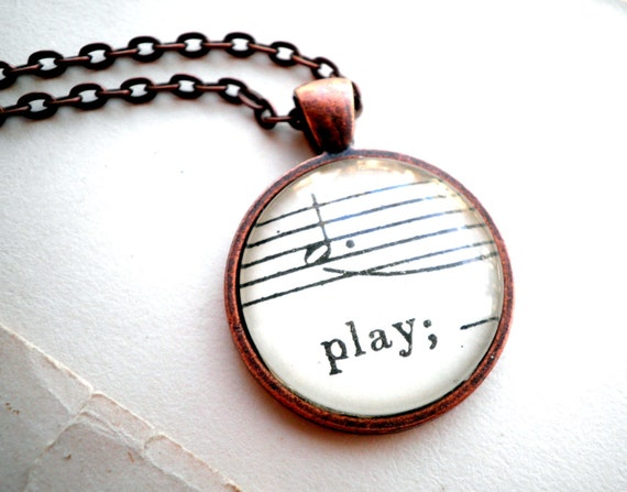 Sheet music necklace.  Copper pendant with real vintage sheet music under glass dome. Play