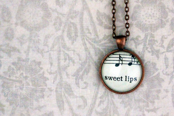 Sheet music necklace.  Copper pendant with real vintage sheet music under glass dome.  Sweet lips