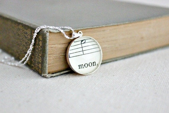 Moon jewelry. Sterling silver sheet music necklace.  Feminine jewelry for musician, music lover, hopeless romantic