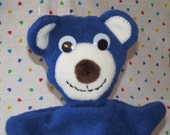 Hand Puppet / Bright Blue Bear / for kids or adults size hands