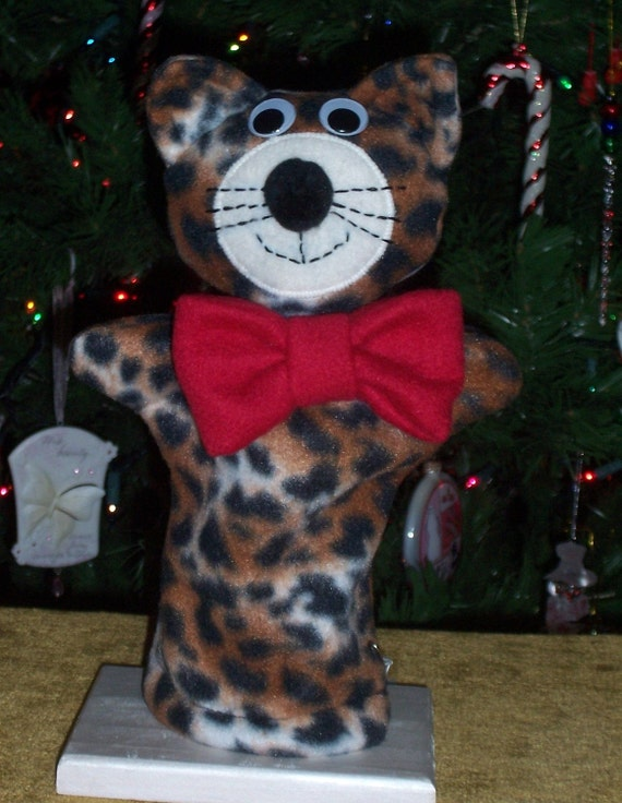 Cat Hand Puppet with Bright Red Bow