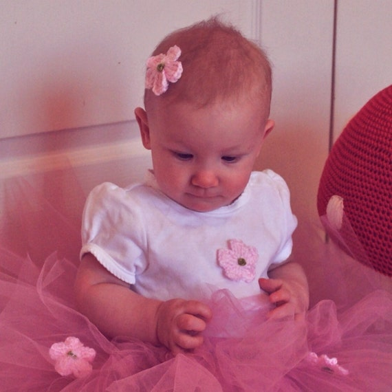 Rosy Mauve Tutu with Pink Crocheted Flowers