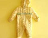 Yellow Gingham Vintage Baby Snowsuit