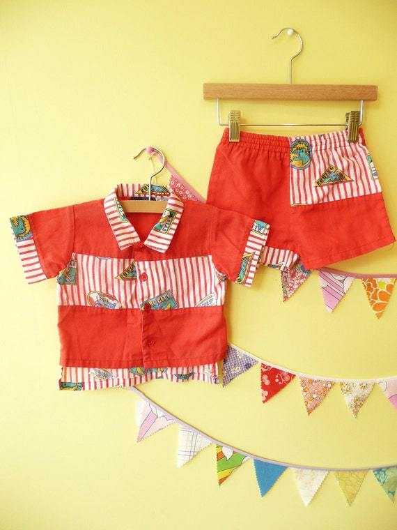 SALE Lil Surfer Boy Vintage Baby Short and Shirt Set