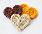 Crochet hearts appliques scrapbooking yellow coffee brown  beige embellishment harvest