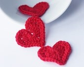 Crochet red hearts