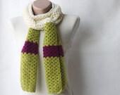 Crochet scarf - green plum cream lacy Winter accessories
