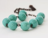Mint green necklace - aqumarine glass beads  VALENTINES DAY SALE 20 % off