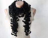 Black crochet scarf - glittery mulberry fashion  gothic Winter accessories