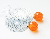 Orange silver earrings - Laser cut silver filigree orange dangle glass beads  VALENTINES DAY SALE 20 % off