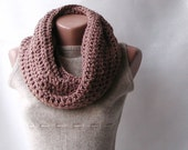 Infinity scarf chunky wool crochet Light mink brown Neutral Spring fashion Mothers day gift