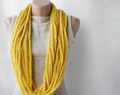 SALE 20% OFF Yellow crochet scarf - infinity chunky wool -  Winter accessories Spring fashion