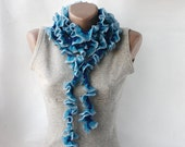 SALE 20% OFF Crochet ruffled scarf -  long  soft frilly light blue turquoise navy