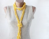 SALE 50 %  OFFSummer scarf crochet necklace  yellow white spring summer fashion vegan cotton