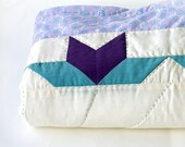 SALE Baby boy quilt - Patchwork blanket - Hand sewn Hand quilted - Spring Tulips - All new fabrics - Baby floor playmat