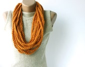 Orange infinity scarf - wool chain necklace - Crochet Spring accessories Fall fashion