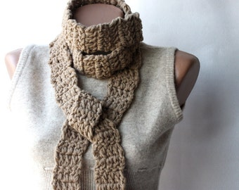 Khaki crochet scarf Neutral Ecru Tan Sand Wool blend long scarf Winter accessories