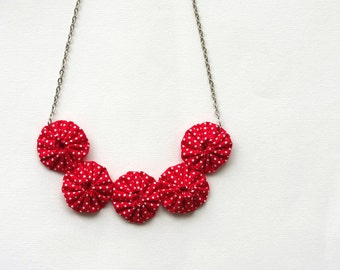 Yoyo necklace Red white polka dot  cotton fabric Summer chic fashion