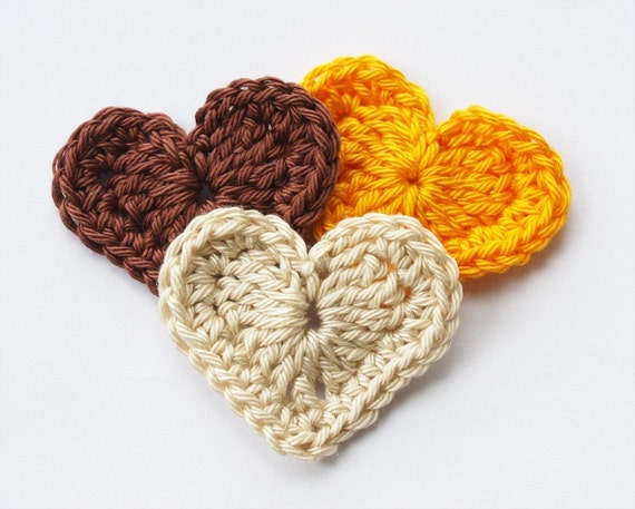 Crochet hearts appliques scrapbooking yellow coffee brown  beige embellishment harvest