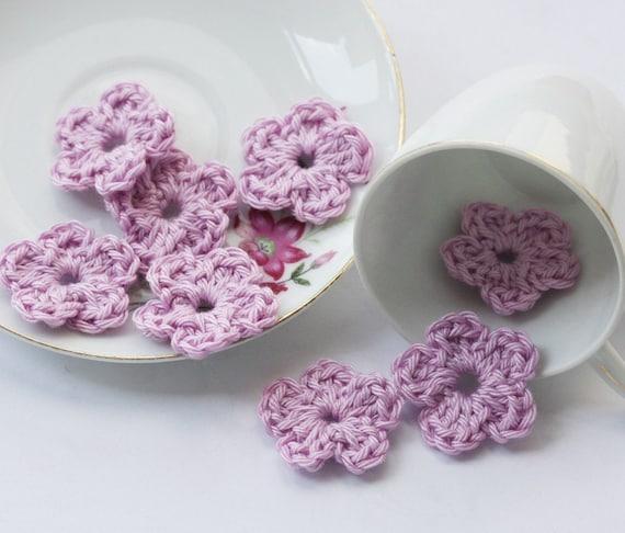 Crochet flowers  light purple lavender