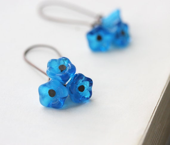 Blue earrings cherry flower blossom bloom romantic fashion spring summer accessories