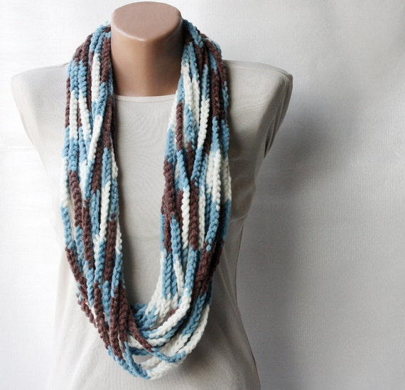 Crochet scarf - infinity chunky wool blend - multicolor white brown blue Winter accessories  MADE TO ORDER