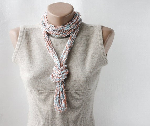 Summer Scarf Infinity scarf necklace  orange light turquoise blue white spring summer fashion vegan cotton
