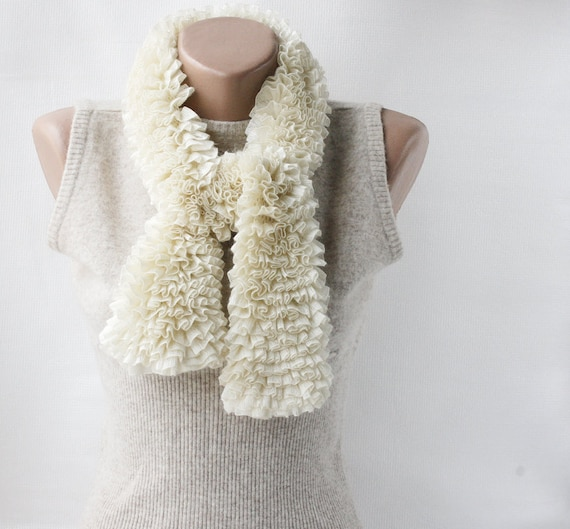 Cream Knit scarf -  ruffled cream white spring fashion vegan Mothers day gifts under 50