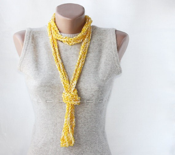 SALE 50 %  OFFSummer scarf crochet necklace  yellow white spring summer fashion vegan cotton