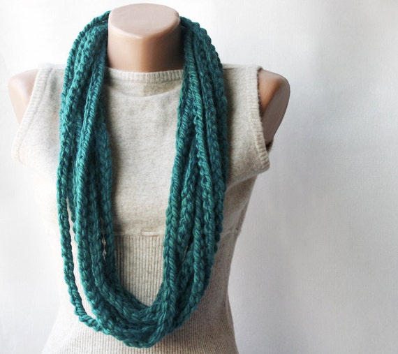 Teal crochet scarf - infinity wool necklace teal green autumn fall accessories