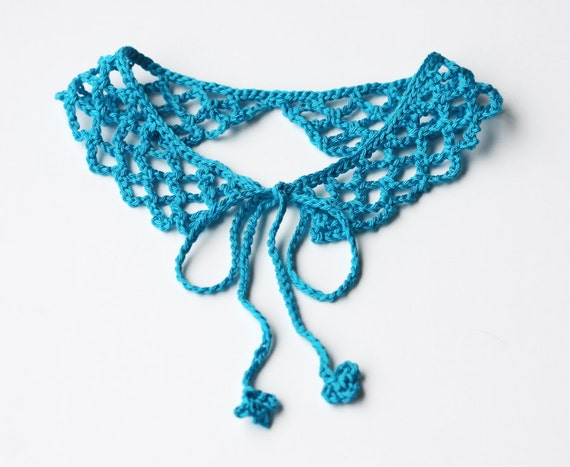 Turquoise blue crochet collar necklace
