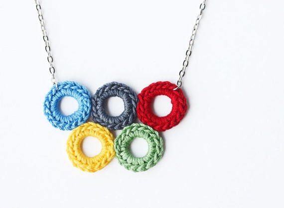 Olympic rings necklace crochet jewelry bubble necklace olympic games jewelry bib necklace crochet pendant necklace wearable art gift ELVAN